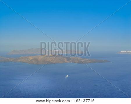 View Of The Sea And Volcano (caldera) In Santorini