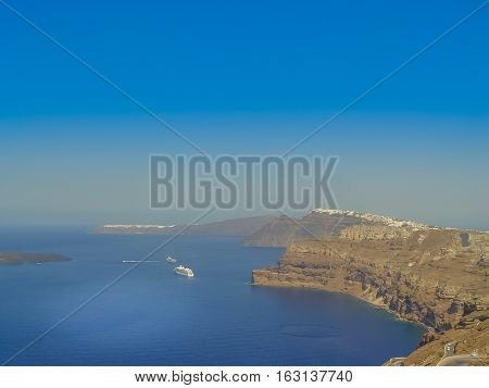 Santorini Island At The Sunset. A Viewpoint From Thira Village