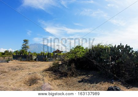 Landscape with Agung Volcano with Balinese temple and Cactus bushes in front Bali Indonesia
