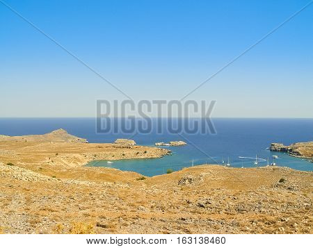 Saint Paul Beach In Lindos, Greek Island Of Rhodes
