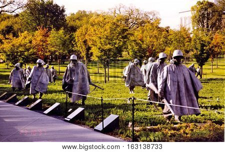 Korean War Veterans Memorial in Washington USA October 1997