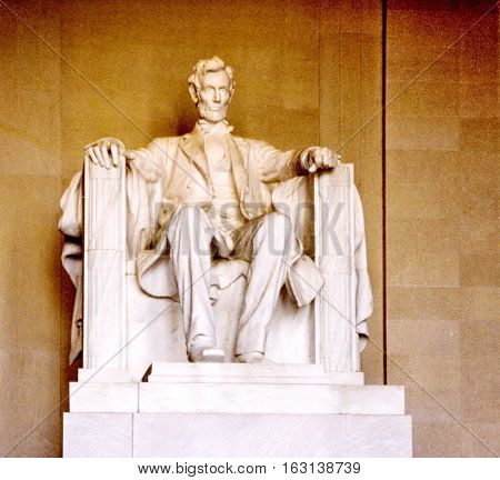 Abraham Lincoln Statue in Lincoln National Memorial in Washington USA October 1997