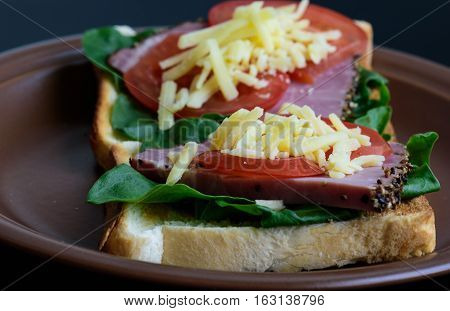 Toast with roasted meat, tomatoes, sorrel and mozzarella cheese served on clay plate