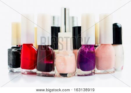 Vials for nail Polish isolated on white background