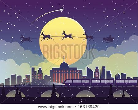 The flying Santa Claus with reindeer at midnight on the city. New year vector illustration.