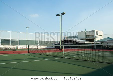 Tennis court on rooftop of a buiding
