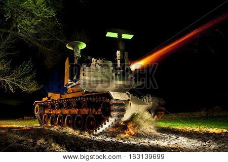 Light painted Abandoned Tank Firing Cannon at Night