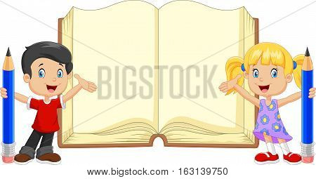Vector illustration of Cartoon kids with book and pencils