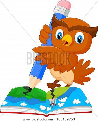 Vector illustration of Cartoon owl drawing on a book