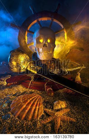 Pirate themed still life with skull and swords