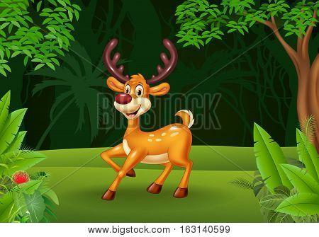 Vector illustration of Cartoon deer in the jungle