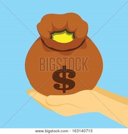 Pouch sack full of money vector illustration concept
