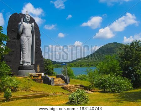 Polonnaruwa, Sri Lanka - May 01, 2009: The sculpture of Budda in Polonnaruwa temple - medieval capital of Ceylon or Sri Lanka, Asia, UNESCO on May 01, 2009