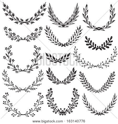 Set of hand drawn vector floral wreaths with branches, leaves, flowers, berries. Decorative elements for design in black and white sketch style.
