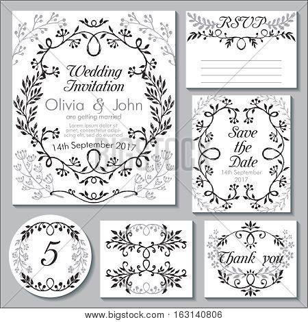 Vector wedding collection. Templates for invitation, thank you card, save the date, RSVP. Beautiful hand drawn floral ornaments, vignettes in sketch style.