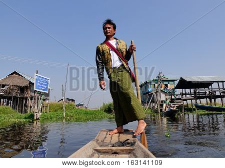 Wooden Boat On The Canal In Inle, Myanmar
