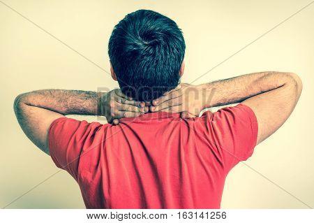 Man Having Pain In His Neck - Retro
