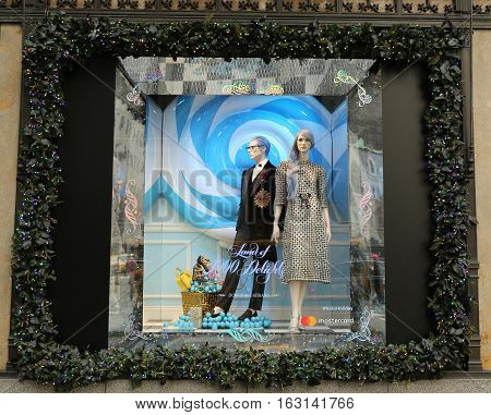 NEW YORK - DECEMBER 15, 2016: Holidays window display at Sacks Fifth Avenue titled