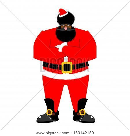 Grumpy Black Santa. Angry African Claus. Irate Christmas Aframerican. Bad Guy For New Year. Xmas Tou
