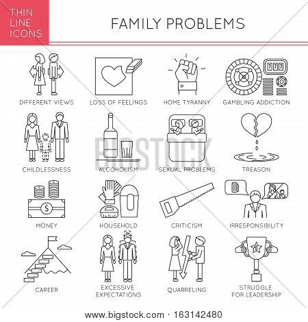 Thin line icons set, vector illustration. Family problems, causes of conflict and divorce, couple relationships. Strong metaphors, isolated symbols. Simple mono linear design.