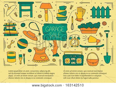 Garage sale, household used goods. Hand drawn line elements. Vector horizontal banner template. Doodle background. For banners and posters, cards, brochures, invitations, website designs.
