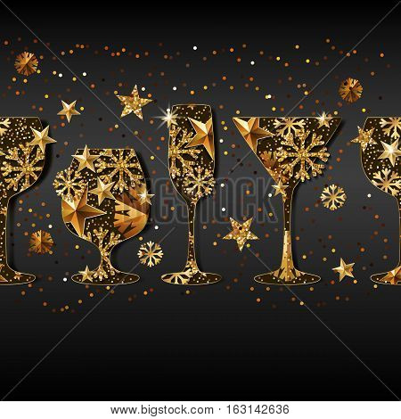 Winter Holiday Vector Black Background With Gold Drinking Glasses.