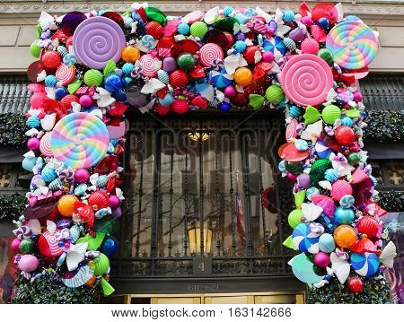 NEW YORK - DECEMBER 15, 2016: Sacks Fifth Avenue luxury department store Holidays decoration titled `Land of 1000 Delights` in Manhattan