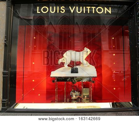 NEW YORK - DECEMBER 15, 2016: Louis Vuitton Holidays window display at Sacks Fifth Avenue luxury department store in Manhattan