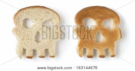 Two skull shaped slices of bread isolated on white background. Concept danger from gluten