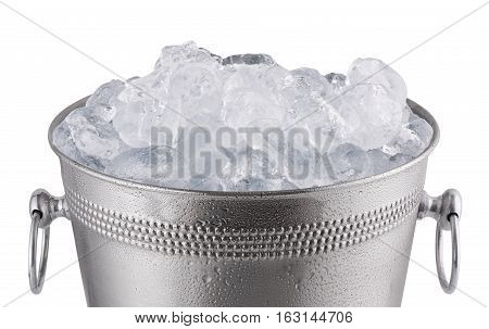 Close up metal champagne bucket full with ice. Isolated on white