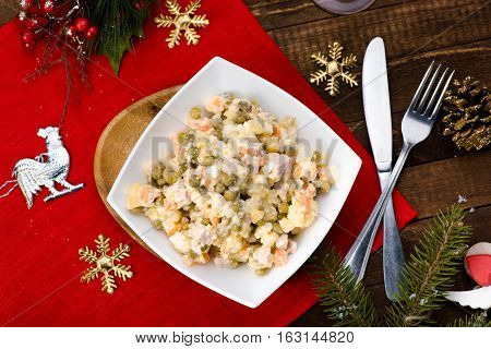 Russian Salad Olivie. Christmas. Tradition. New Year.