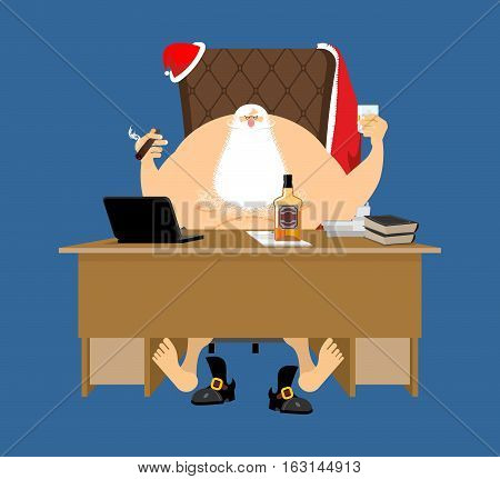 Santa After Work Relaxes. Claus Rest. Drink And Cigar. Bottle Of Whiskey And Glass With Ice. Office