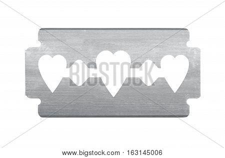 razor with heart shape isolated on white
