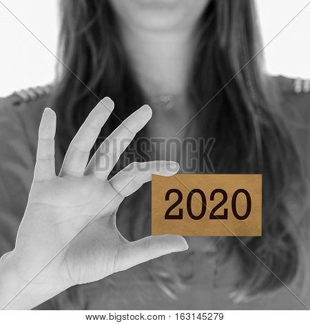 Woman Showing A Business Card - 2020