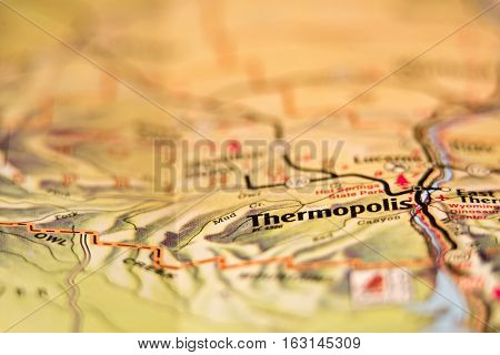 thermopolis wyoming city usa area on a map