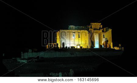 Destroyed temple of Baal in Palmyra at night Syria. Eliminated by ISIS now.