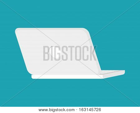 Open White Laptop Back Isolated. Notebook Pc. Portable Computer