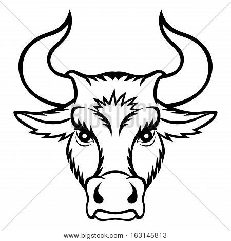 A bull head. This is vector illustration ideal for a mascot and tattoo or T-shirt graphic.