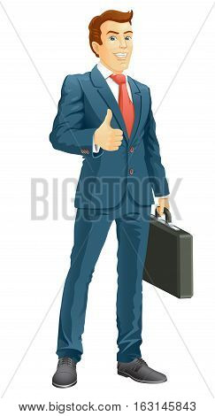 Smiling businessman shows the thumb up. Vector illustration.