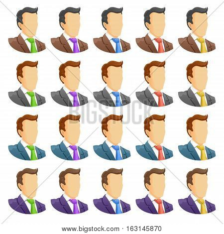 Human icon set. Portrait of businessmen in suits of different colors. Different colors ties. Vector illustration.
