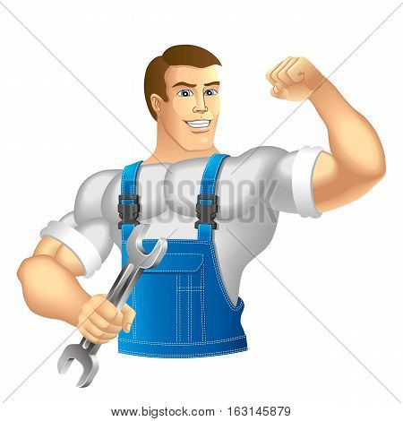 Muscular man in work clothes. Mechanic or handyman in work clothes holding a spanner. Vector illustration.