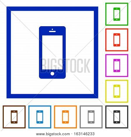 Cellphone flat color icons in square frames on white background