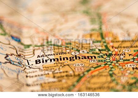 city of birmingham alabama area on a map