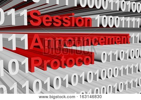 Session Announcement Protocol in the form of binary code, 3D illustration
