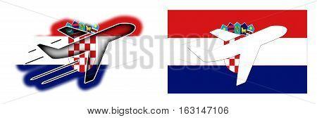 Nation Flag - Airplane Isolated - Croatia