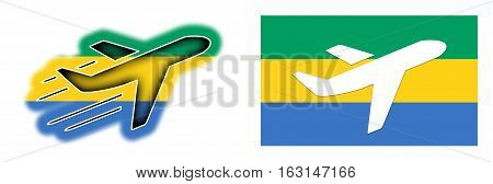 Nation Flag - Airplane Isolated - Gabon