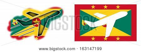 Nation Flag - Airplane Isolated - Grenada