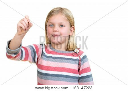 education, school and imaginary screen concept - cute little girl drawing in the air or imaginary screen