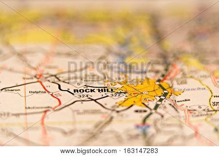 rock hill south carolina usa area map