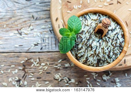 Mixture Of White And Wild Rice For A Healthy Diet.